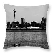 Seattle Waterfront Bw Throw Pillow