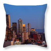 Seattle Winter Evening Panorama Throw Pillow