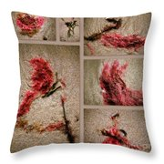 Seaweed Floral Collage Throw Pillow