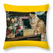 Sebestian And The Old Roses Throw Pillow