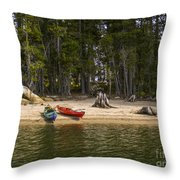 Secluded Beach Camp Throw Pillow