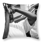 Second Line Black And White Throw Pillow