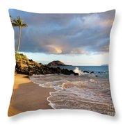 Secret Beach At Sunset Throw Pillow