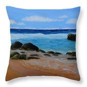Secret Beach Throw Pillow