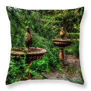 Secret Garden Birdbath Throw Pillow