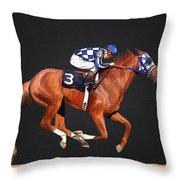 Secretariat And Turcotte Throw Pillow