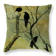 Secretive Crows Throw Pillow