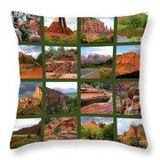 Sedona Spring Collage Throw Pillow by Carol Groenen