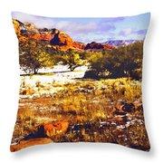 Sedona Winter Painting Throw Pillow
