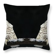 Seeing Double- Snowy Owl At Twilight Throw Pillow