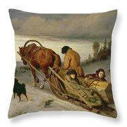 Seeing Off The Dead, 1865 Oil On Canvas Throw Pillow
