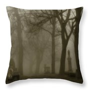 A Graveyard Seeped In Fog Throw Pillow