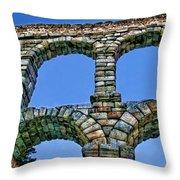 Segovia Aqueducts Blue By Diana Sainz Throw Pillow