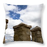 Segovia Wall Against Blue Sky Throw Pillow