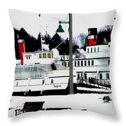 Segwun And Wenonah Steamships In Winter Throw Pillow