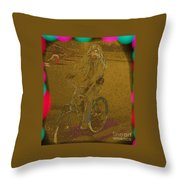 Self Portrait - Artist On Bicycle Throw Pillow