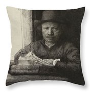 Self-portrait Etching At A Window Throw Pillow