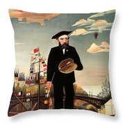 Self Portrait Throw Pillow by Henri Rousseau