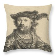 Self Portrait In A Velvet Cap With Plume Throw Pillow by Rembrandt