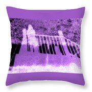 Self Portrait In Lavender Looking Down Over The Rails Throw Pillow