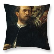Self Portrait With Death Throw Pillow by Arnold Bocklin