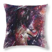 Self Portrait With Flowers Throw Pillow