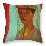 Self Portrait With Hat And Veil Throw Pillow
