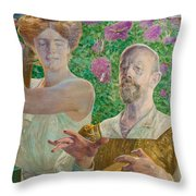 Self-portrait With Muse And Buddleia Throw Pillow