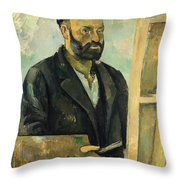 Self Portrait With Palette Throw Pillow by Paul Cezanne