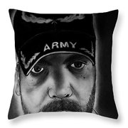 Self Portrait With Us Army Retired Cap Throw Pillow