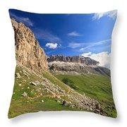 Sella Mountain And Pordoi Pass Throw Pillow