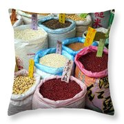 Selling Beans Nuts And Grains Throw Pillow