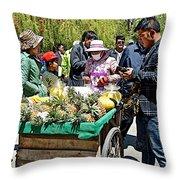 Selling Fresh Pineapple On Street In Lhasa-tibet    Throw Pillow