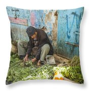 Selling Herbs In The Souk Throw Pillow