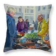 Selling Vegetables At The Market Throw Pillow