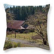 Selma Barn And Country Road Throw Pillow