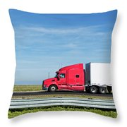 Semi Truck Moving On The Highway Throw Pillow