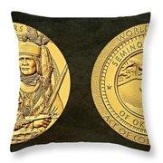 Seminole Nation Code Talkers Bronze Medal Art Throw Pillow