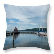 Seneca Lake Harbor - Watkins Glen - Wide Angle Throw Pillow