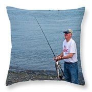 Senior Caught A Pollock In Kachemak Bay Off Homer Spit-alaska Throw Pillow