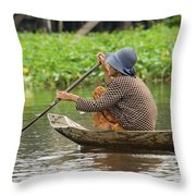 Senior Woman Paddling A Boat Throw Pillow