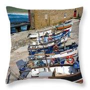 Sennen Cove Fishing Fleet Throw Pillow