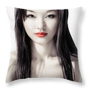 Sensual Artistic Beauty Portrait Of Young Asian Woman Face Throw Pillow