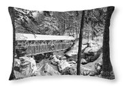 Sentinel Pine Covered Bridge - Franconia Notch State Park New Hampshire Usa Throw Pillow
