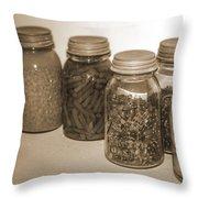 Sephia Vintage Kitchen Glass Jar Canning Throw Pillow