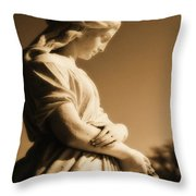Sepia Angel Dream Throw Pillow