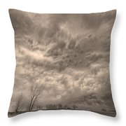 Sepia Angry Skies Throw Pillow