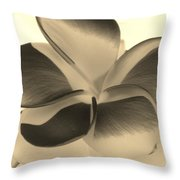 Sepia Bloom Negative Throw Pillow