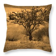 Sepia Cacti Roadside Throw Pillow