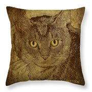 Sepia Cat Throw Pillow